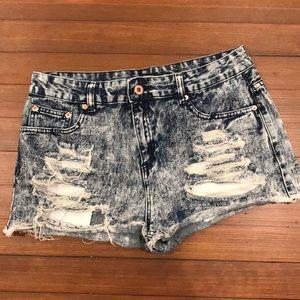 Acid Wash Denim Destroyed Shorts